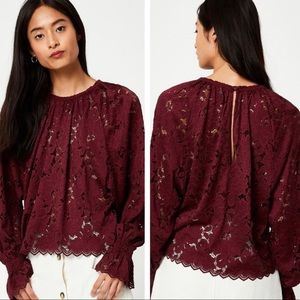 Free People Olivia Lace Top Red Medium